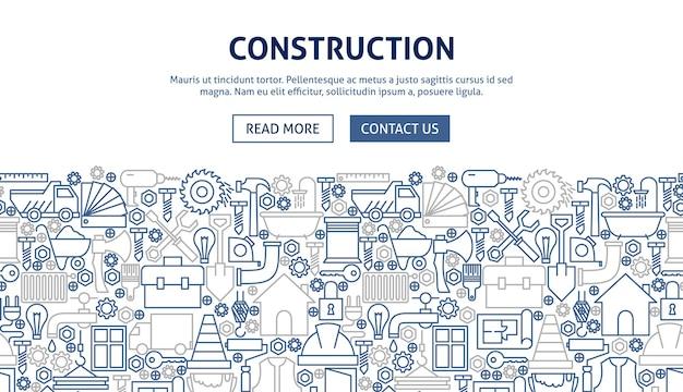 Design de banner de construção. ilustração em vetor de linha do conceito de web.