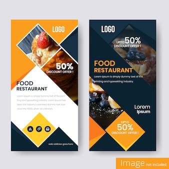 Design de banner de desconto de comida para restaurante