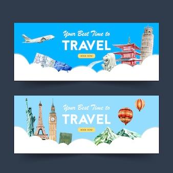 Design de banner de dia de turismo com marco, torre, castelo, estátua
