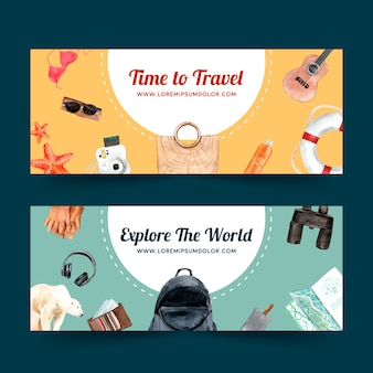 Design de banner de dia de turismo com praia, bola de praia, biquíni, óculos de sol