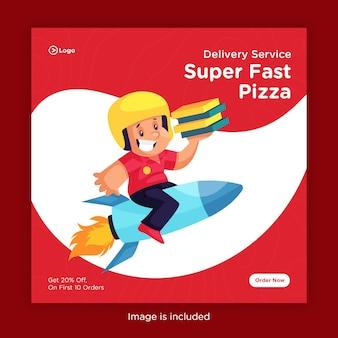Design de banner de entrega super rápida de pizza para mídias sociais