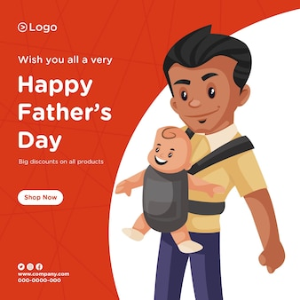 Design de banner de feliz dia dos pais com desconto em todos os produtos estilo cartoon teamplate