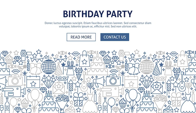 Design de banner de festa de aniversário. ilustração em vetor de linha do conceito de web.