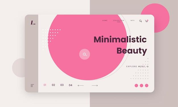 Design de banner de herói de beleza minimalista para o conceito de publicidade.