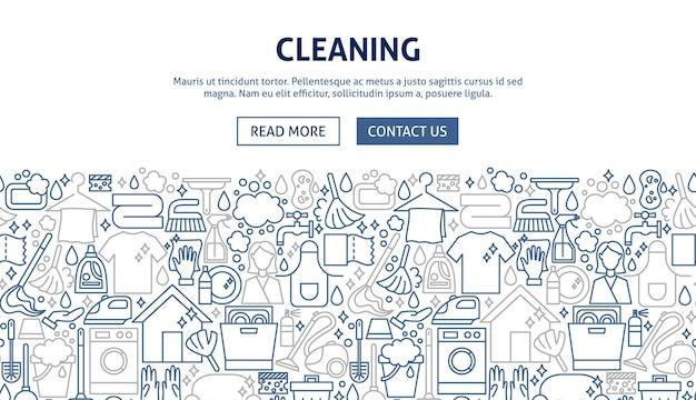 Design de banner de limpeza. ilustração em vetor de linha do conceito de web.