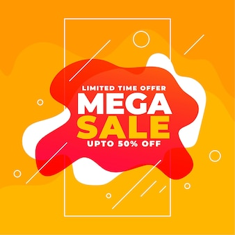Design de banner de mega venda com formas fluidas