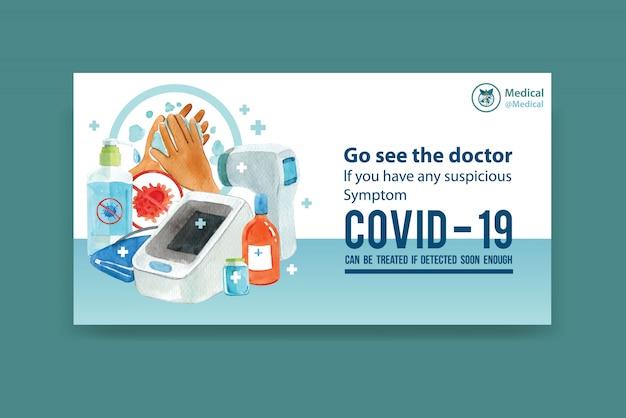 Design de banner de mídia social com pintura em aquarela de medicina, ilustração de termômetro.
