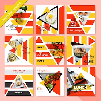 Design de banner de mídia social de comida para restaurante