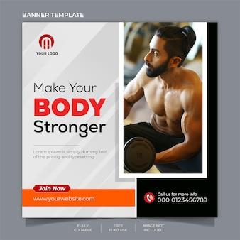 Design de banner de mídia social de fitness