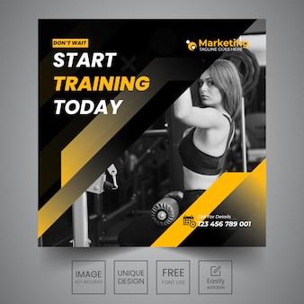 Design de banner de mídia social de ginásio