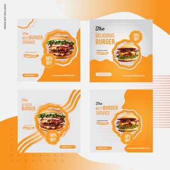 Design de banner de mídia social de venda de hambúrguer