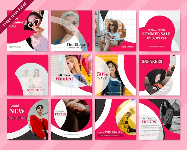 Design de banner de mídia social vermelho de moda