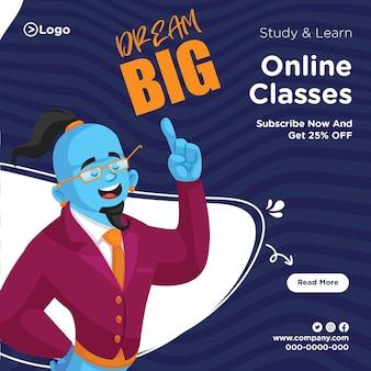 Design de banner de modelo de aulas online de estudo