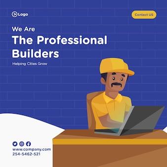 Design de banner de modelo de construtor profissional em estilo cartoon