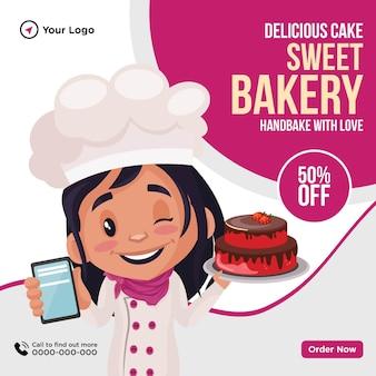 Design de banner de modelo de desenho animado delicioso bolo doce padaria