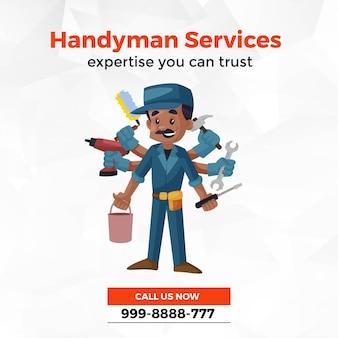 Design de banner de modelo de estilo de desenho animado para serviços de faz-tudo