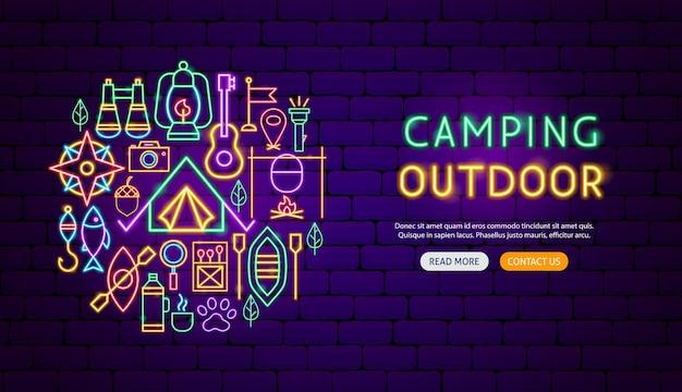 Design de banner de néon ao ar livre de acampamento. ilustração em vetor de promoção de acampamento.