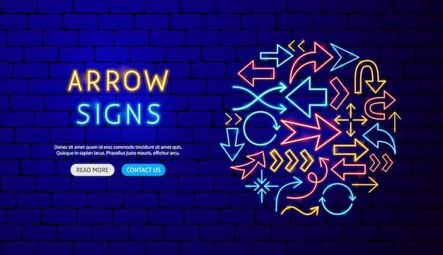 Design de banner de néon de seta. ilustração em vetor de promoção de direção.