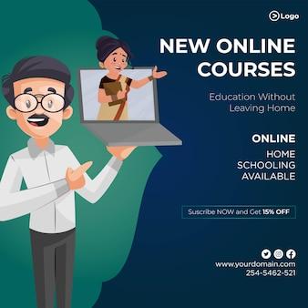 Design de banner de novas aulas online de ilustração de estilo de desenho animado