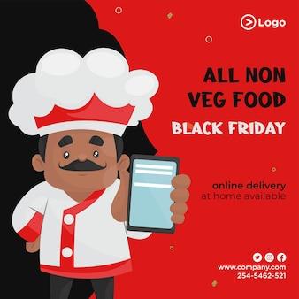 Design de banner de oferta de comida não vegetariana em modelo preto de estilo cartoon de sexta-feira