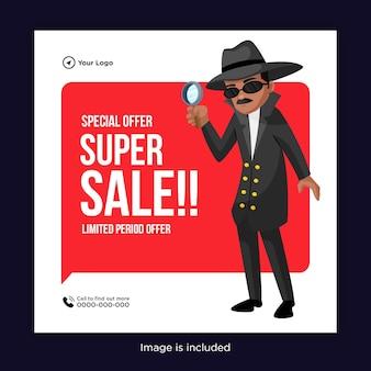 Design de banner de oferta especial de super venda com um homem segurando uma lupa