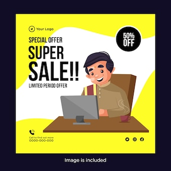 Design de banner de oferta especial de super venda com um homem trabalhando no laptop