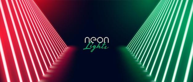 Design de banner de piso de caminho de palco vermelho verde neon
