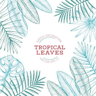 Design de banner de plantas tropicais