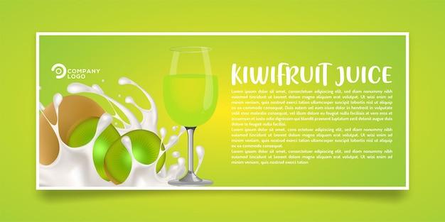 Design de banner de produto de suco de kiwi