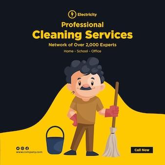 Design de banner de serviços de limpeza profissional com homem da limpeza