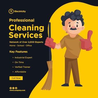 Design de banner de serviços de limpeza profissional com o homem da limpeza usando luvas e segurando a vassoura