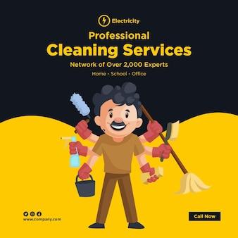 Design de banner de serviços de limpeza profissional com um homem de limpeza fazendo multitarefa com várias mãos