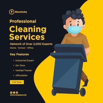 Design de banner de serviços de limpeza profissional com um homem de limpeza usando uma máscara cirúrgica e segurando uma lata de lixo