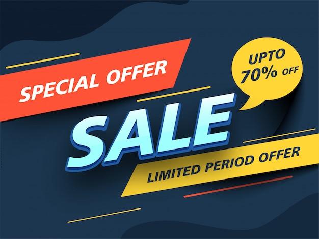 Design de banner de venda com oferta especial até 70% de desconto em período limitado