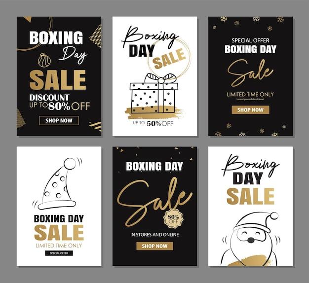 Design de banner de venda de boxing day com modelos de decoração de luxo ouro use para banners de etiquetas de cartazes de anúncios de panfleto