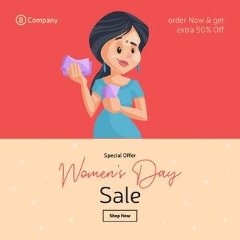 Design de banner de venda de oferta especial do dia da mulher com garota contando dinheiro