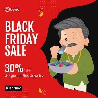 Design de banner de venda de sexta-feira negra em modelo de estilo de desenho de joias