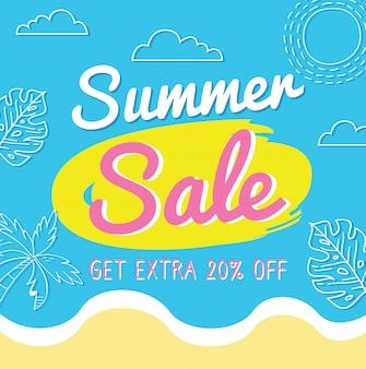 Design de banner de venda de verão com elementos de doodle