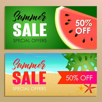 Design de banner de venda de verão com melancia