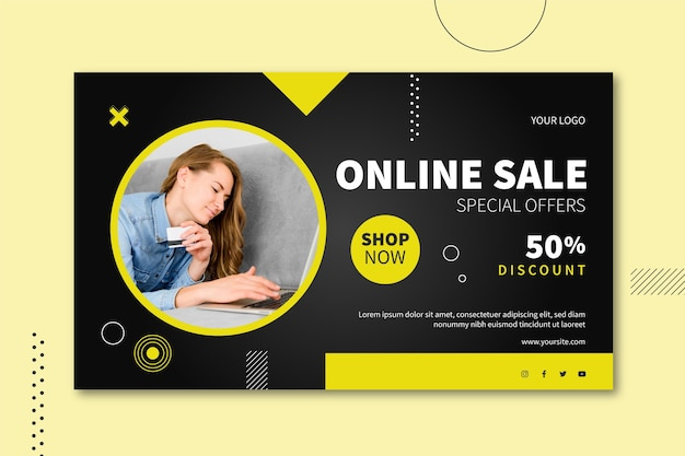 Design de banner de venda online