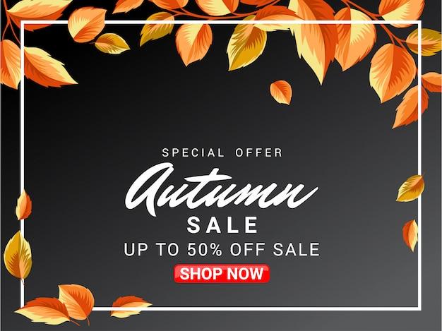 Design de banner de venda outono com ornamento de folhas