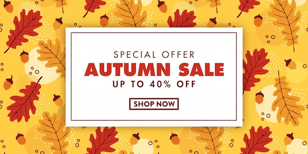 Design de banner de venda outono
