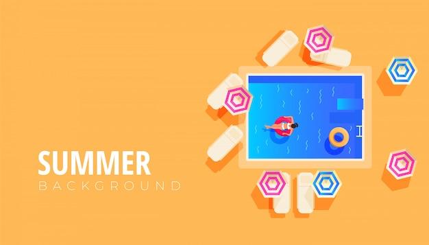 Design de banner de venda verão com design plano de descanso pessoas na piscina, viagens e férias