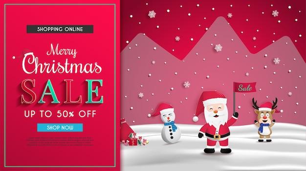Design de banner de vendas de natal e convidando você para compras online e comemorar