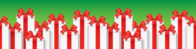 Design de banner de vetor de caixas de presente altas e brancas