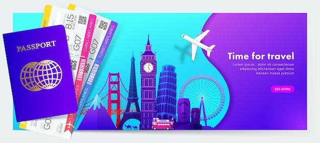 Design de banner de viagem com pontos de referência famosos em estilo gradiente moderno para site de viagens ou turismo Vetor Premium