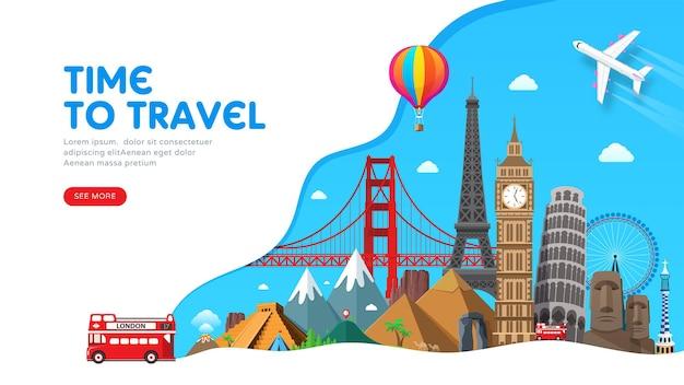 Design de banner de viagem com pontos de referência famosos para blog de viagens popular