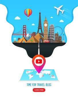Design de banner de viagem com pontos de referência famosos para canal de blog de vídeo de viagens popular ou site de turismo