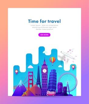Design de banner de viagens com marcos famosos em estilo gradiente moderno para site de viagens ou turismo