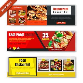 Design de banner de web de comida para restaurante
